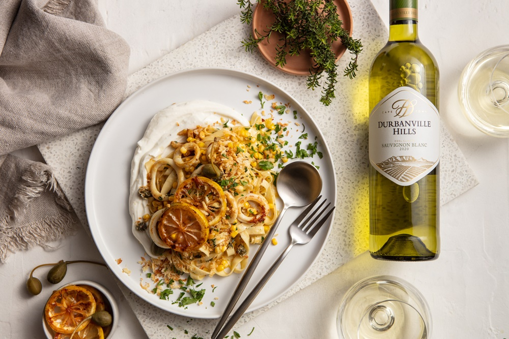 Calamari, Lemon, Corn and Ricotta Tagliatelle with Durbanville Hills Sauvignon Blanc