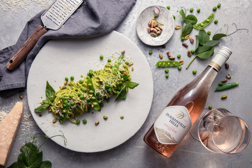 Pea Pasta with Pistachio Pesto Recipe with Durbanville Hills Rosé